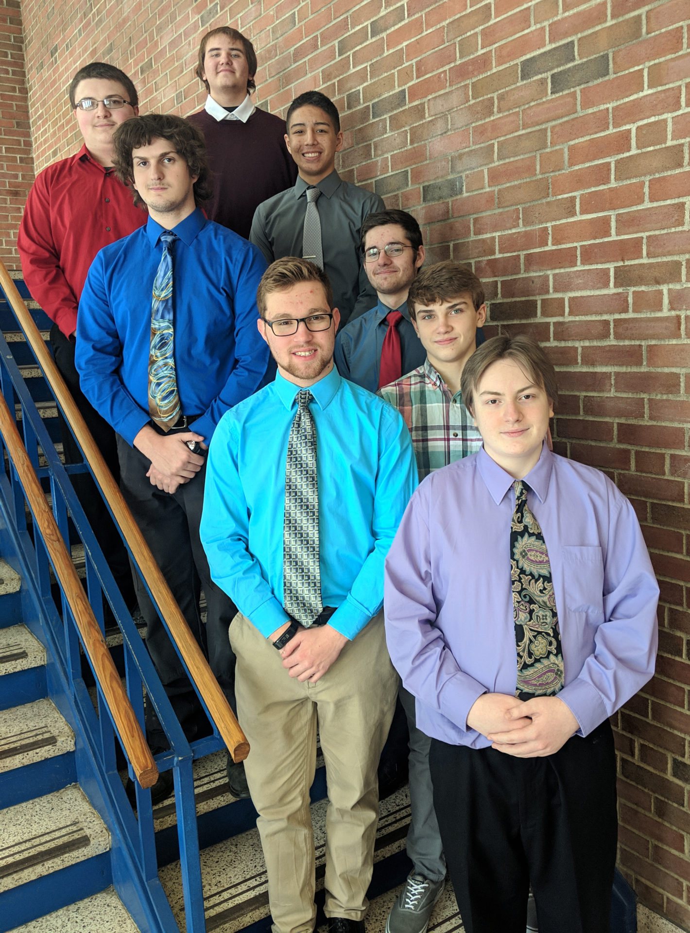 Top row: Wade Wampler and  Aaron Barlow. Middle row: Alex Neumeister, Everette Golden and Zach Nash. Front row: Nick Christopher, Ethan Fort and William Sylvia.