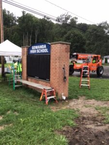 Installed electronic marquee at Gowanda High