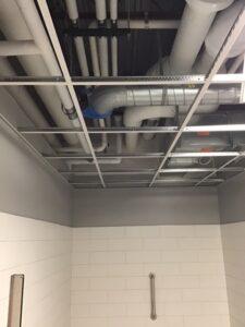 Restroom ceiling grid