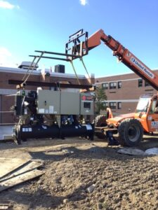 Chiller and heavy equipment outside