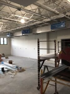 UV demo is also complete on the second and first floors of the middle school, where all holes have been cored for new chilled water piping and condensate holes are laid out and ready to core in July 2021.