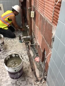 HS second floor Bathrooms 222 Boys and Girls sink replacement is ongoing on Aug. 6, 2021.