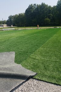 Softball field turf installation Sept. 23, 2020.