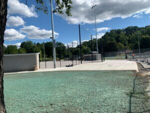 Softball field seeding is visible prior to turf installation Sept. 23, 2020.